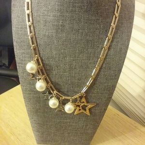 Gold Star and Peral Style Necklace